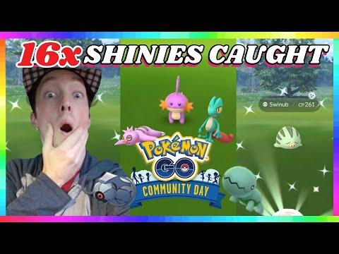 16x SHINY POKEMON CAUGHT during DECEMBER COMMUNITY DAY EVENT in Pokemon Go!