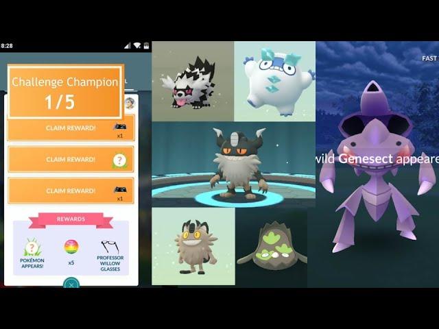 Champion Challenge Genesect, Galarian Meowth, Stunfish, Darumaka and more!