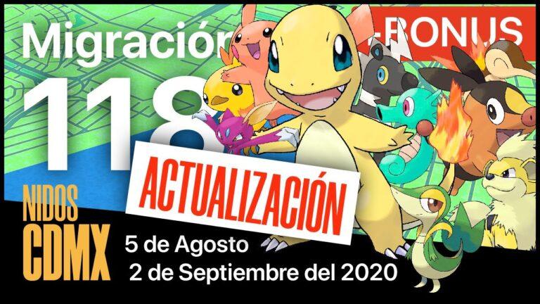 Actualización   Migración nidos Pokemon Go en CDMX #118   19 de Agosto al 2 de Septiembre del 2020