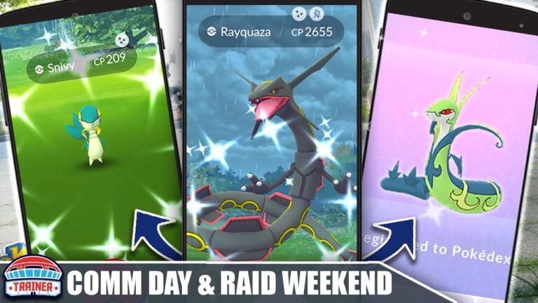 INCOMING! *SHINY RAYQUAZA & SHINY SNIVY* – RAID WEEKEND & COMMUNITY DAY! | Pokémon GO