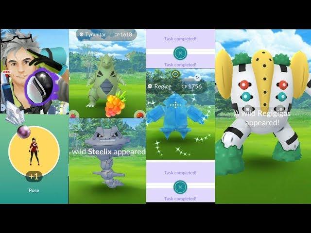 An 8 dollar quest in Pokemon go. Catching Ex Regigigas, Tyranitar, Steelix with Unova -Sinnoh Stone
